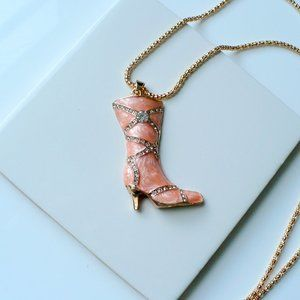 Jewelry - ❤️ NEW Crystal & Enamel Boot Pendant Necklace